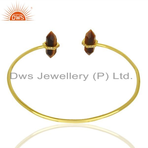 Indian Handmade Tigereye Pencil Point Healing Openable Adjustable Gold Plated Bangle
