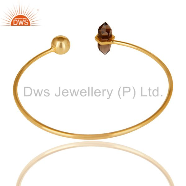 Indian Handmade Smoky Double Terminated Pencil Point Openable Gold Plated Silver Bangle