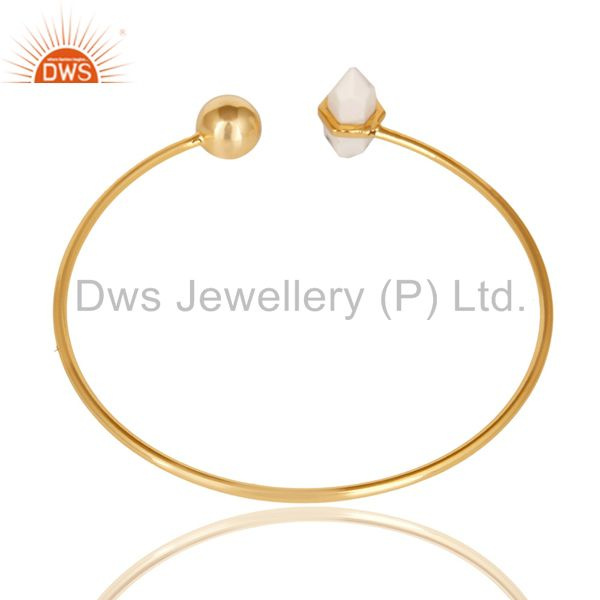 Indian Handmade Howlite Double Terminated Pencil Point Openable Gold Plated Silver Bangle