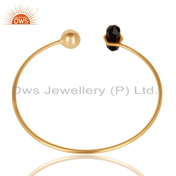 Indian Handmade Black Onyx Double Terminated Pencil Point Openable Gold Plated Silver Bangle