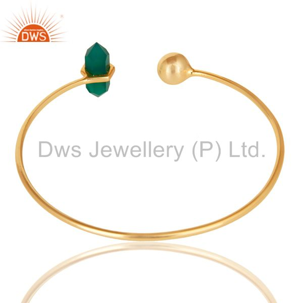 Indian Handmade Green Onyx Double Terminated Pencil Point Openable Gold Plated Silver Bangle