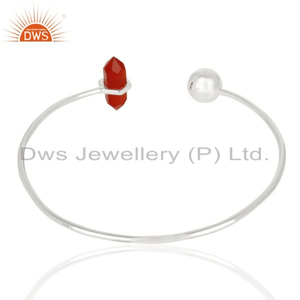 Indian Handmade Red Onyx Double Terminated Pencil Point Openable Sterling Silver Bangle