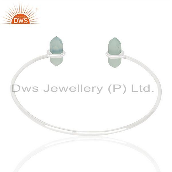 Indian Handmade Aqua Chalcedony Terminated Pencil Point Openable 92.5 Sterling Silver Bangle