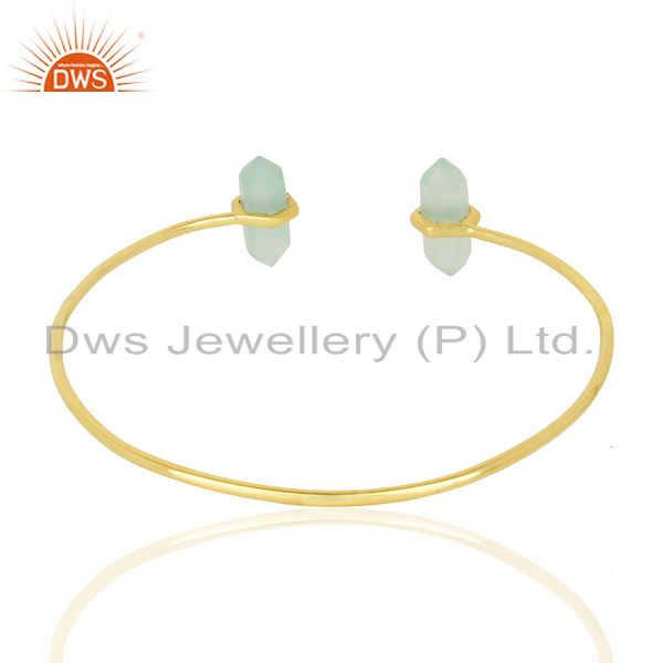 Indian Handmade Aqua Chalcedony Terminated Pencil Point Openable Gold Plated Silver Bangle