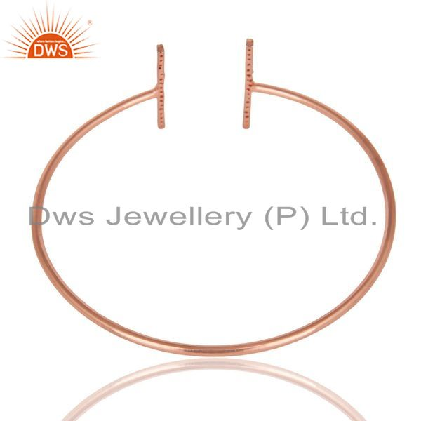 Indian Handmade Cz Studded Parallel Bar Bangle Rose Gold Plated Sterling Silver Bangle