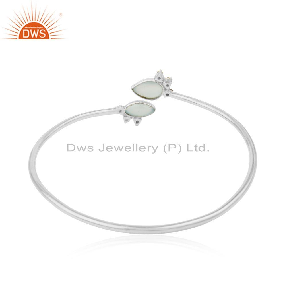Manufacturer of Fine Sterling Silver Multi Gemstone Sleek Cuff Bracelet Manufacturer in India