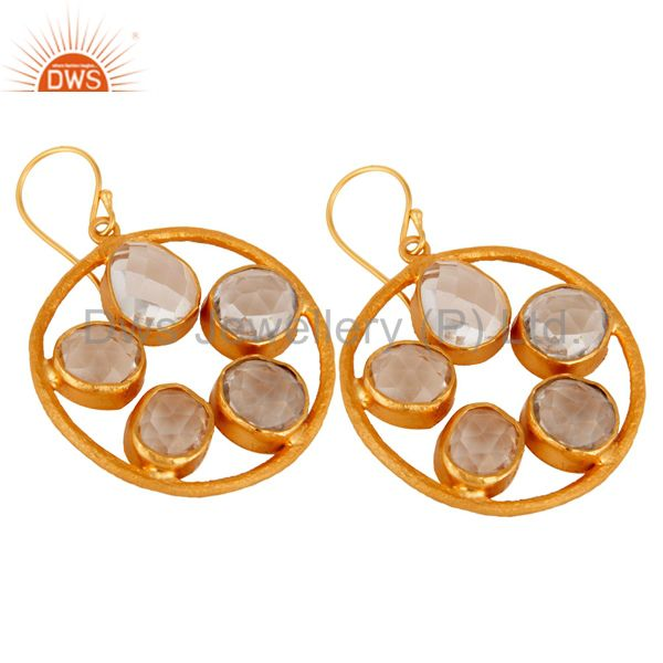 Handmade 22K Yellow Gold Plated Fancy Crystal Quartz Brushed Earring Manufacturer Jaipur