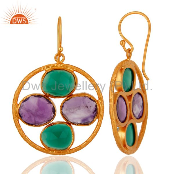 Handmade 18K Gold Over Silver Green Onyx & Amethyst Gemstone Earrings Supplier India