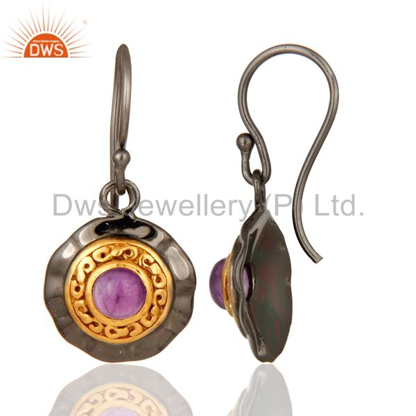Amethyst Dangle 14K Yellow Gold Plated 925 Silver Earrings Jewelry Wholesale India