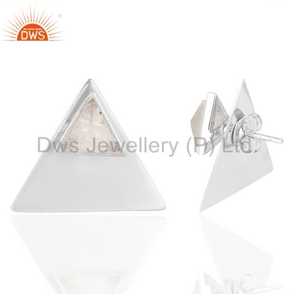 Rainbow Moon Stone Two Way Triangle White Rhodium 92.5 Silver Earring Manufacturer India