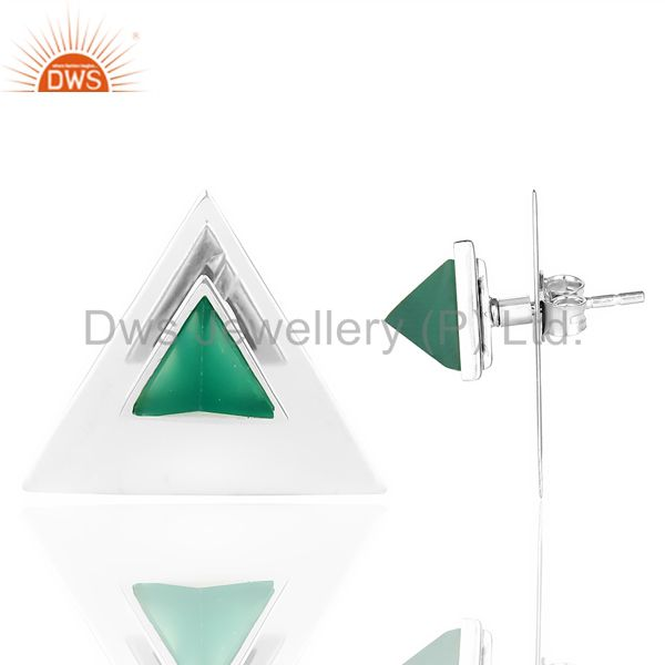 Green Onyx Two Way Stud Triangle White Rhodium 92.5 Silver Earring Wholesale India