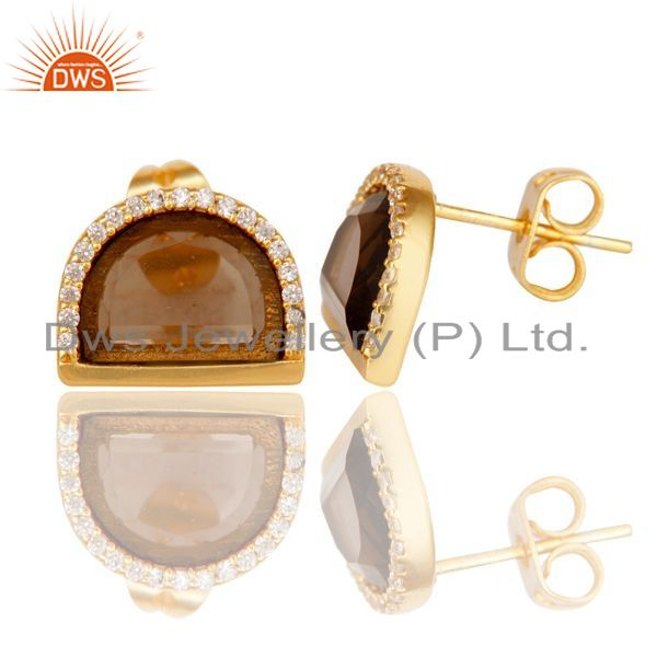 Smoky Topaz Half Moon Cz Stud Gold Plated 92.5 Silver Earring Supplier