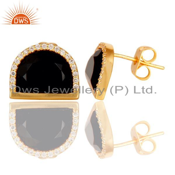 Black Onyx Half Moon Cz Stud Gold Plated 92.5 Silver Earring Manufacturer Jaipur