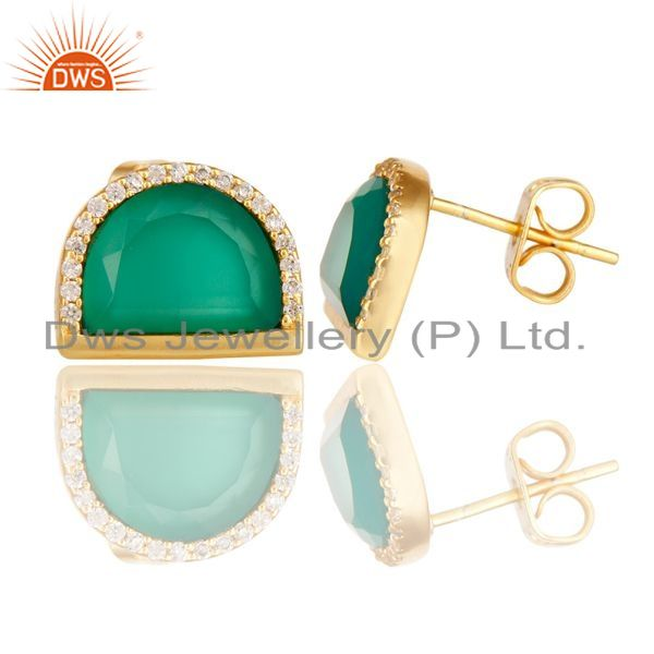 Green Onyx Half Moon Cz Stud Gold Plated 92.5 Silver Earring Supplier Jaipur
