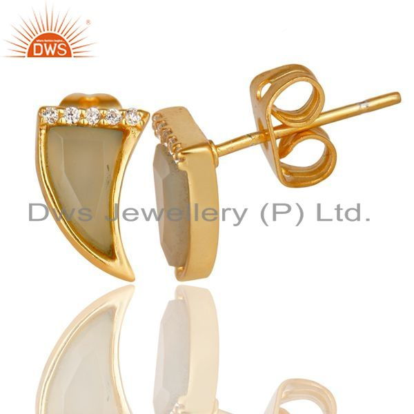 Aqua Chalcedony Tiny Horn Cz Studded Post Gold Plated Silver Earring Wholesale