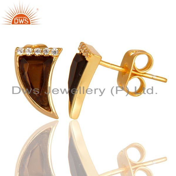 Smoky Topaz Tiny Horn Cz Studded Post Gold Plated Silver Earring Manufacturer India