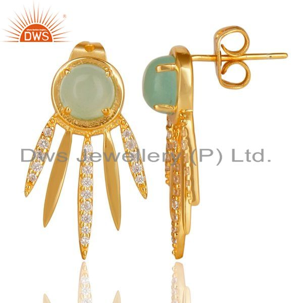 Aqua Chalcedony White Cz Studded Spike Post Gold Plated Silver Earring Wholesale