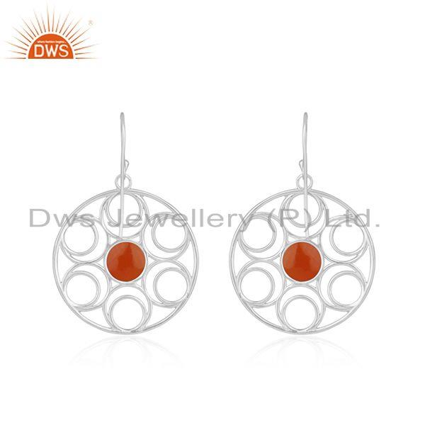 Best Quality New Arrival Fine Sterling Silver Red Onyx Gemstone Designer Earrings