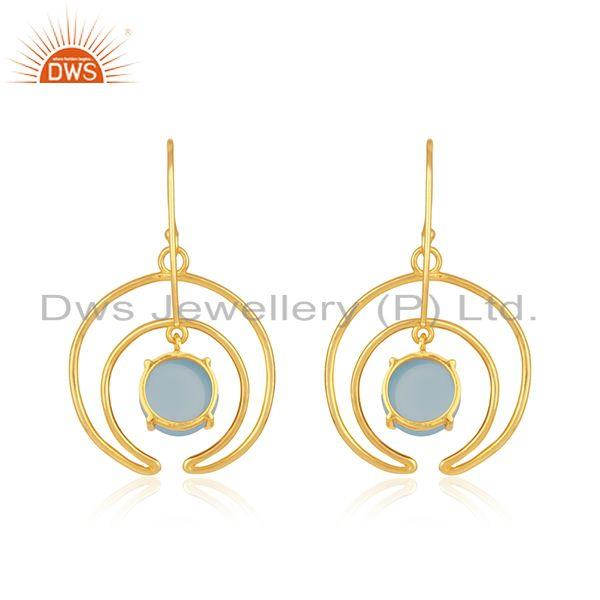 Top Quality Crescent Moon Design Gold Plated 925 Silver Blue Chalcedony Earrings