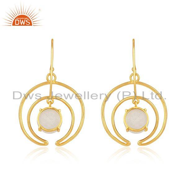 Best Quality Natural Rainbow Moonstone Gold Plated 925 Silver Earrings Wholesale