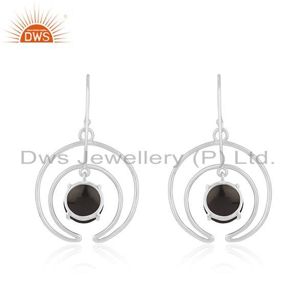 Best Quality 925 Sterling Fine Silver Crescent Moon Design Onyx Gemstone Earrings