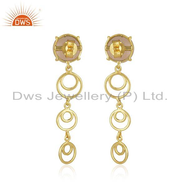 Best Quality Rose Chalcedony Gemstone Gold Plated Designer Sterling Silver Earrings