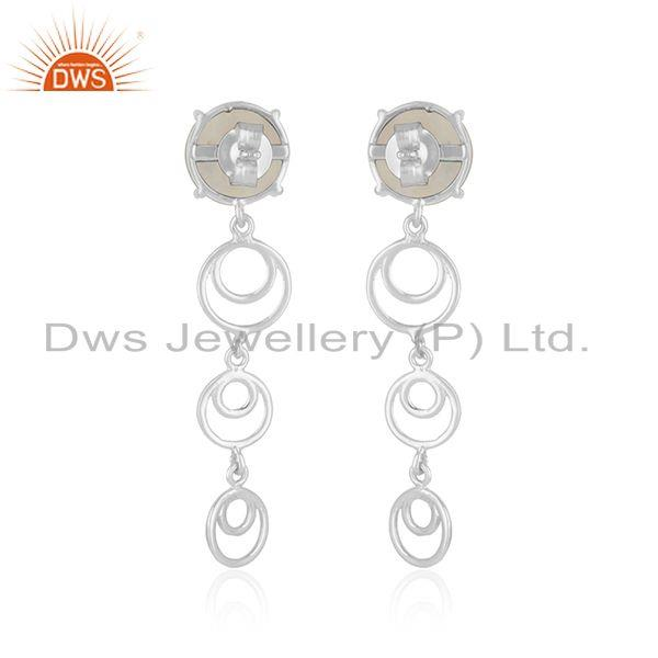 Best Quality Natural Rainbow Moonstone 925 Fine Sterling Silver Earrings Jewelry