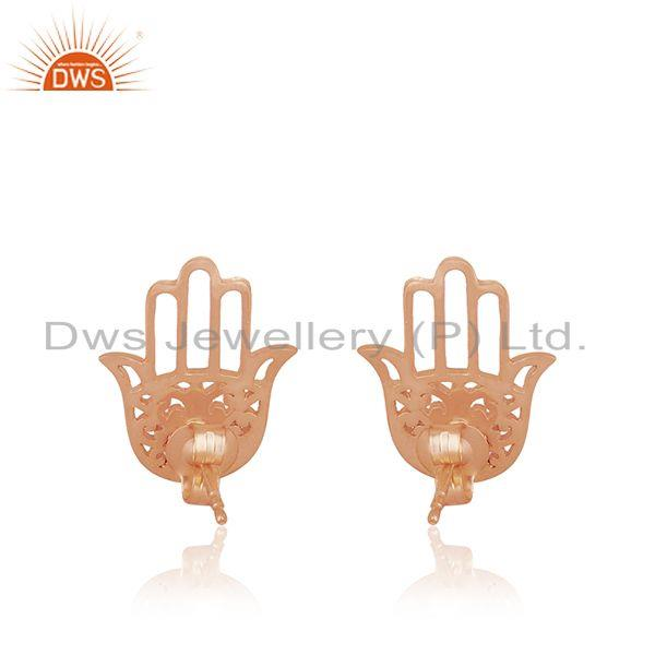 Wholesale Rose Gold Plated Sterling Silver Hamsa Hand Stud Earrings Manufacturer in India