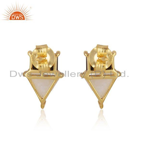Top Quality Natural Multi Gemstone Gold Plated 925 Sterling Silver Stud Earrings