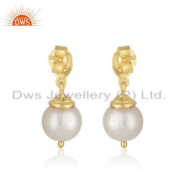 Top Quality Natural Pearl Yellow Gold Plated Sterling Silver Designer Earrings