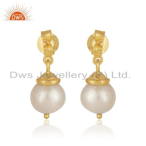 Best Quality Leaf Design Sterling Silver Gold Plated Natural Pearl Girls Earrings
