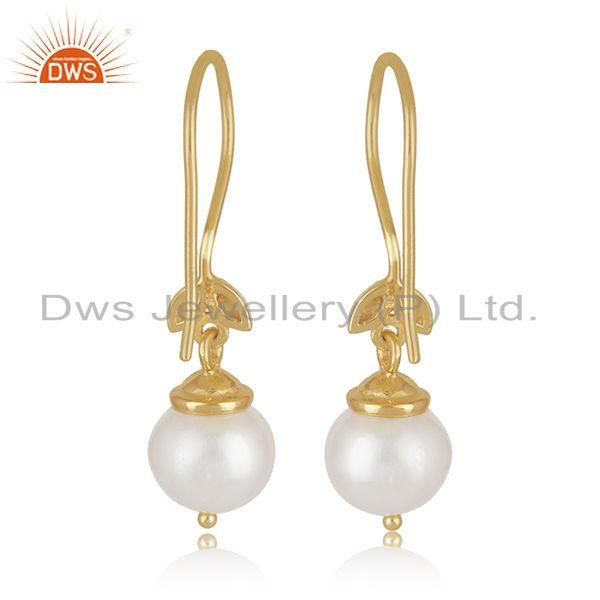 Best Quality South Sea Pearl Gemstone Gold Plated Sterling Silver Designer Earrings