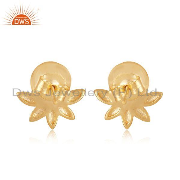 Genuine Designer 925 Silver Gold Plated South Sea Pearl Gemstone Stud Earrings