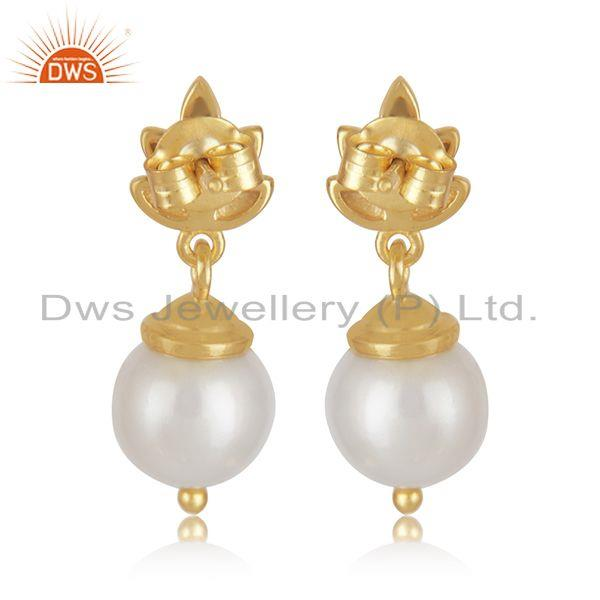 Top Quality Customized Sterling Silver Gold Plated South Sea Pearl Girls Earrings
