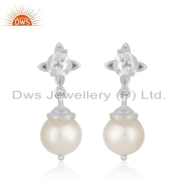 Top Quality Natural South Sea Pearl Gemstone Fine 925 Sterling Silver Earrings