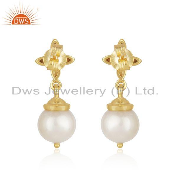 Best Quality Natural South Sea Pearl Gemstone Gold Plated Sterling Silver Earrings