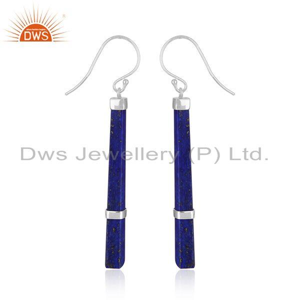 Supplier of Party Wear Natural Lapis Lazuli Gemstone Fine Sterling Silver Earrings in India