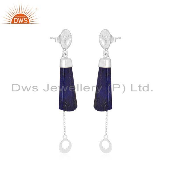 Wholesale Handmade 925 Sterling Designer Silver Lapis lazuli Gemstone Earrings in India