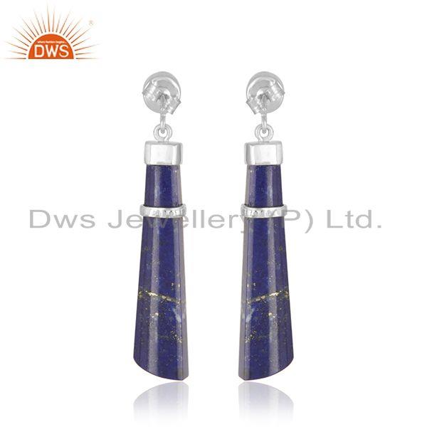 Manufacturer of White Rhodium Plated 925 Silver Lapis Lazuli Gemstone Earring Supplier in India