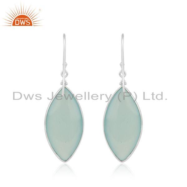 Manufacturer of Peridot and Aqua Chalcedony Gemstone Fine Sterling Silver Earrings in Jaipur