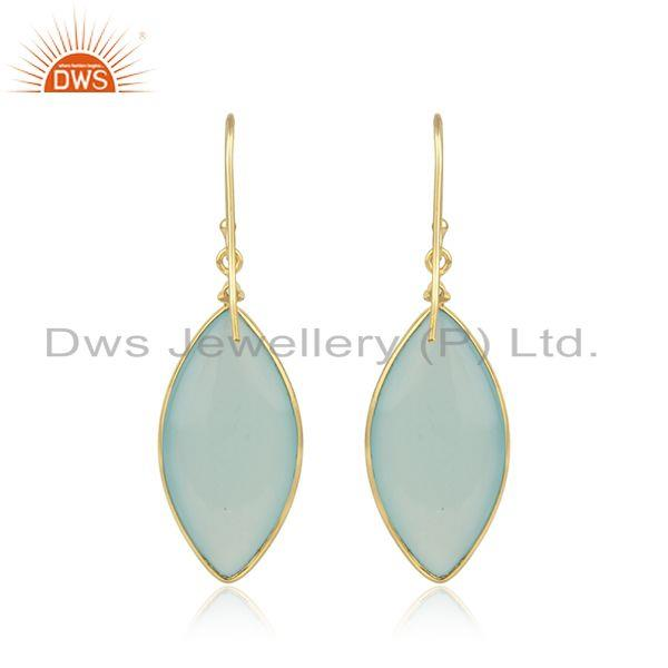 Supplier of Aqua Chalcedony Gemstone Gold Plated 925 Sterling Silver Earrings in India
