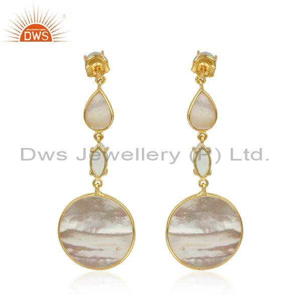 Wholesale Mother of Pearl Gemstone Handmade 925 Silver Gold Plated Earrings in India