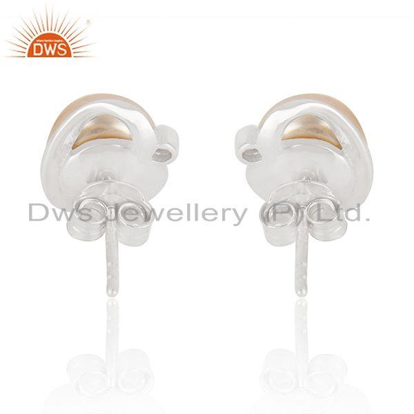 Manufacturer of Pink Pearl Gemstone Beautiful 925 Fine Silver Cute Stud Earrings in India
