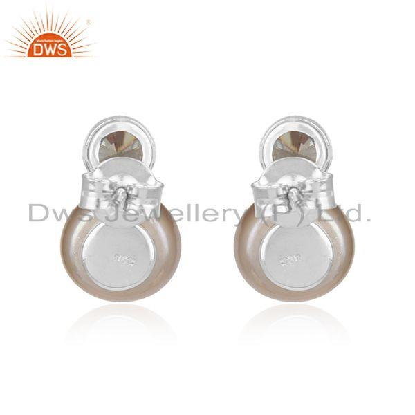 Manufacturer of Natural Gray Pearl Gemstone Fine Sterling Silver Cute Stud Earrings in India