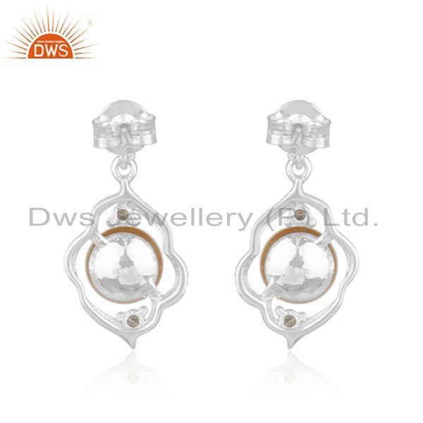 Wholesale White Rhodium Plated 925 Silver Natural Pearl Gemstone Girls Earrings in Jaipur