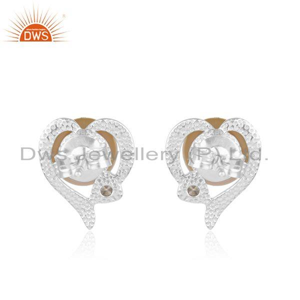 Supplier of Natural Pink Pearl Gemstone Heart Design Sterling Silver Stud Earrings in India