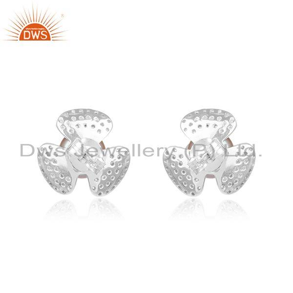 Manufacturer of Floral Design 925 Fine Silver White Zircon and Gray Pearl Stud Earring in India