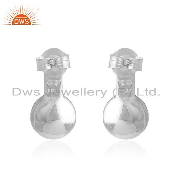 Wholesale Genuine Pink Pearl Gemstone Fine Sterling Silver Zircon Stud Earrings in Jaipur