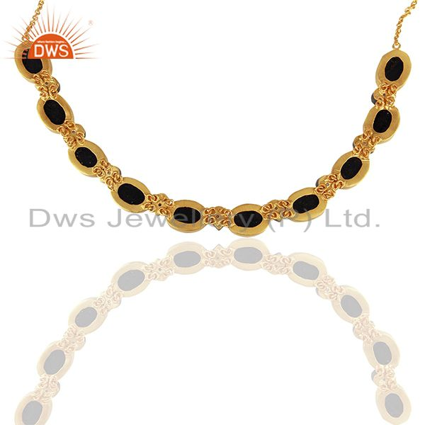 Supplier of 22K Yellow Gold Plated Sterling Silver Dyed Blue Sapphire And CZ Choker Necklace In Jaipur