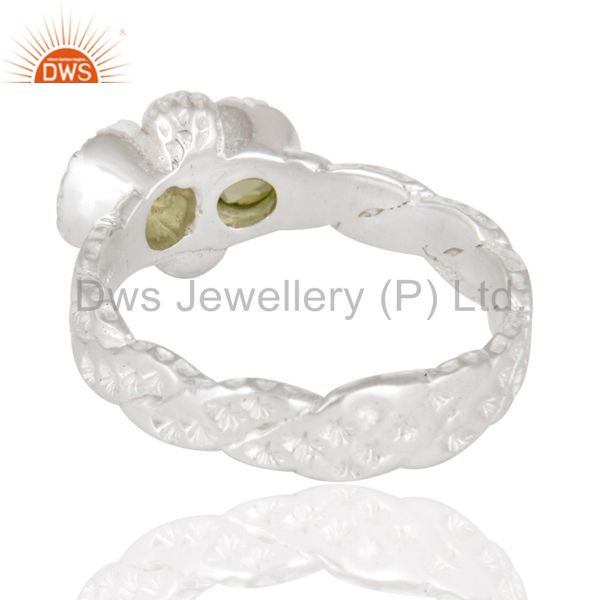 Best Quality Indian Hammered Designer 925 Sterling Silver Peridot Gemstone Ring